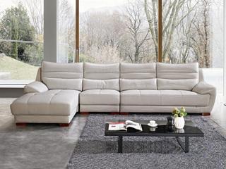 现代简约 皮艺 冷灰色 转角沙发(1+3+右贵妃)