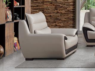 现代简约 头层真皮 米白色 单人沙发