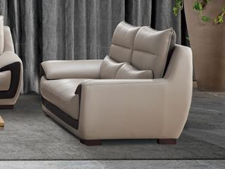 现代简约 头层真皮 米白色 双人沙发