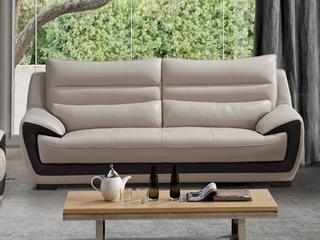 现代简约 皮艺 米白色 三人沙发