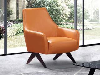 现代简约 头层真皮 橙色休闲椅