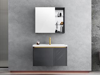 【包邮 送货到家】 现代简约风格 铝合金防水材质 陶瓷一体盆 60CM 浴室柜套装(龙头需单独购买)