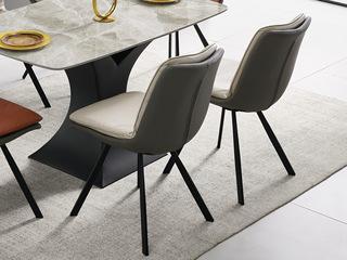 现代简约 米色+灰色 科技皮 餐椅(单把价格 需双数购买 单数不发货)