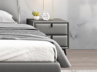 极简风格 全实木柜 黑磨砂铁五金脚 浅灰色床头柜
