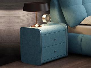 极简风格 天蓝色 布艺 床头柜