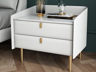 轻奢 岩板 实木内架 米白色 床头柜