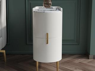 轻奢 岩板 实木内架 白色烤漆 床头柜
