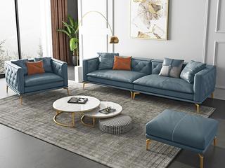 轻奢风格 全实木框架 羽绒公仔包 1+4+脚踏 布艺沙发组合