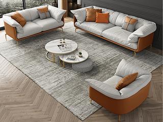 轻奢风格 全实木框架 三人位 仿真皮沙发