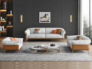 轻奢风格 全实木框架 双人位 仿真皮沙发