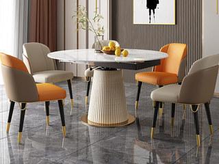 轻奢风格 旋转功能餐台 12mm岩板+皮艺 1.35米 餐桌