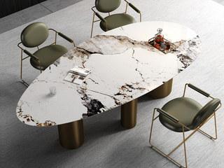 轻奢风格 不锈钢+岩板 1.6米 餐桌