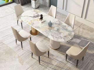 轻奢风格 岩板 钢琴烤漆 坚纹浮雕工艺 1.4米 餐桌