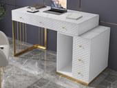 慕梵希 轻奢 岩板 钢琴哑光烤漆 白色 伸缩书桌
