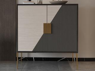 轻奢 竖纹浮雕工艺 不锈钢镀金边 鞋柜(长1000mm)