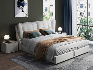 现代简约 充盈软靠 白腊木+实木框架 1.8米 中灰色皮艺床