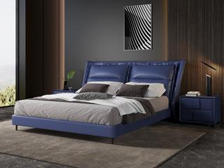 现代简约 充盈软靠 高档皮艺+白腊木 宝蓝色1.8米床