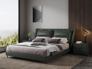 现代简约 充盈软靠 高档皮艺+白腊木 墨绿色1.8米床