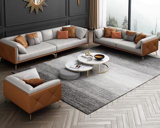 轻奢风格 全实木框架 羽绒公仔包 单人位 橙色+浅灰色 真皮沙发