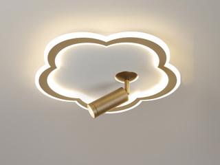 【包邮 偏远地区除外】 轻奢风格 铁艺+亚克力XM2006 金色 250单头射灯 三色光 吸顶灯(含光源 LED29W)