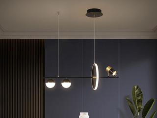 【包邮 偏远地区除外】 轻奢风格 调节光色白光中性光暖光 黑色餐厅3头吊灯(含光源)
