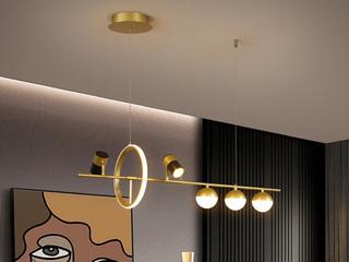 【包邮 偏远地区除外】 轻奢风格 调节光色白光中性光暖光 金色餐厅5头吊灯(含光源)