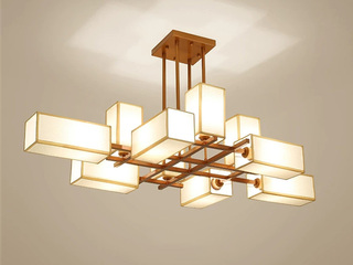 【包邮 偏远地区除外】 新中式高低户通用 自由调节灯体高度 古铜色10头吊灯 客厅卧室灯具(含光源)