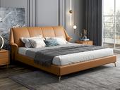 慕梵希 轻奢 全实木内架 白鹅羽绒 暮光橙 舒适柔软1.8米科技布床(搭配10公分松木排骨架)