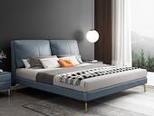 慕梵希 轻奢 全实木内架 白鹅羽绒 石板蓝 舒适柔软1.8米科技布床(搭配10公分松木排骨架)