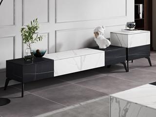 极简风格 全岩板 防污易清洁 创意黑白两色拼接 电视柜(不含边柜)