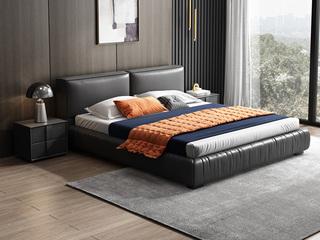 时尚简约 充盈软靠+实木框架 深灰色 皮艺 1.8米高箱双人床(搭配实木排骨架)
