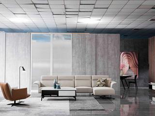 意式极简沙发 高质感米白色 皮艺 转角沙发(1+3+左贵妃)