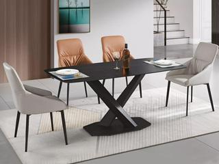 极简风格 哑光劳伦黑岩板台面 X脚架 全黑色餐桌