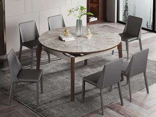 现代简约 岩板 防刮耐磨 实木  岩板 多功能餐桌