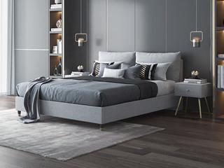 现代简约 灰蓝色 实木框架夹板 柔软舒适海绵 布艺1.8米床(搭配排骨架)