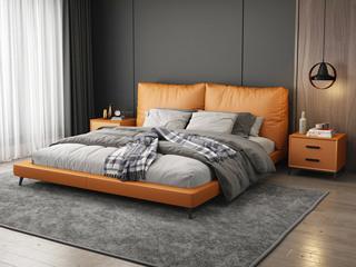 现代简约 金橙色皮艺 实木框架 柔软舒适海绵 1.8米床