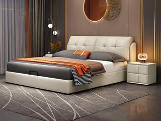 现代简约 实木框架 柔软舒适海绵 多功能储物米黄色皮艺1.8米高箱床(搭配排骨架)