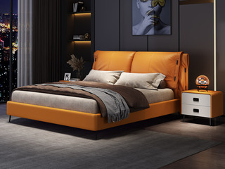 现代简约 实木框架 柔软舒适海绵 金橙色皮艺1.8米床(搭配排骨架)