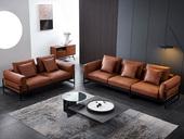 诺美帝斯 现代简约  羽绒 桔色 皮艺  3人位+4人位 组合沙发