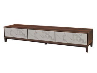 中式简约 中花白岩板 白蜡木电视柜
