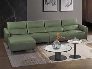 中式简约 真皮 高弹舒适 功能沙发 1+3+左贵妃转角沙发