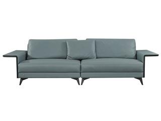 中式简约 真皮 实木 高弹舒适 双扶手4人位沙发