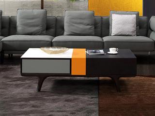 中式风格 白色岩板台面 碳素钢脚架 三拼色长茶几
