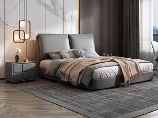 极简风格  充盈软靠 实木 中灰色 皮艺 1.5米双人床