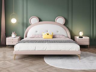 轻奢风格 全实木内架 奶油粉+米白色 皮艺1.2米 卧室软床(搭配10公分松木排骨架)
