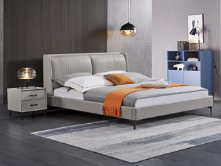 极简风格 舒适软靠 真皮+实木框架 浅灰色 1.8米 床