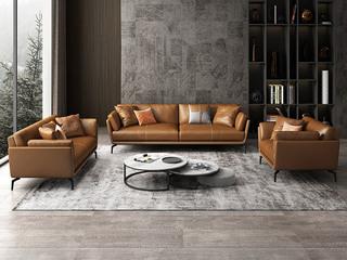 极简风格 舒适高回弹 全实木框架+充盈白鹅羽绒靠包 1+2+3 科技布沙发
