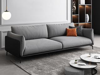 极简风格 舒适透气 意大利进口麻棉面料+全实木框架+白鹅羽绒靠包 三人位 皮布结合沙发