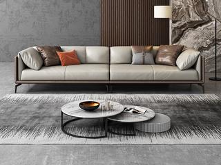 极简风格 高弹舒适 全实木框架+白鹅羽绒靠包 小四人位 仿真皮沙发