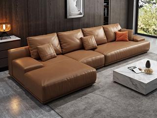 极简风格 高弹舒适 全实木框架+白鹅羽绒靠包 1+3+右贵妃 科技布沙发